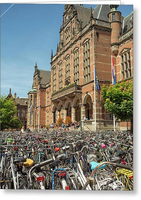Bikes In Front Of Dutch University Greeting Card by Patricia Hofmeester