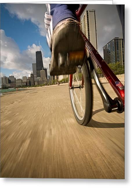Biking Chicagos Lakefront Greeting Card by Steve Gadomski