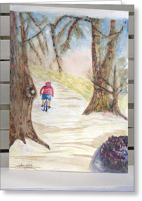 Biking In The Woods Greeting Card by Jonathan Galente