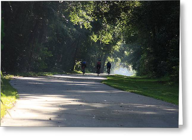 Greeting Card featuring the photograph Biking by Michael Albright