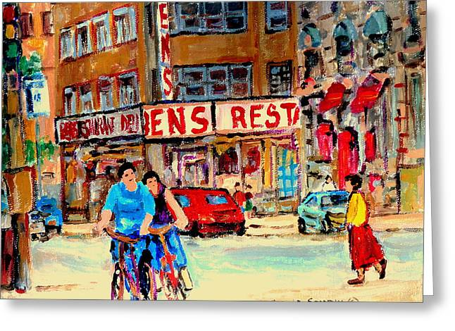 Biking  Past Ben Greeting Card by Carole Spandau