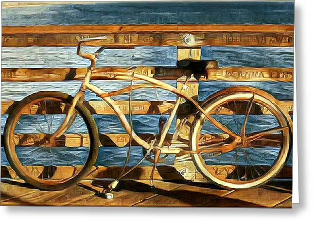 Biking To The Beach Greeting Card