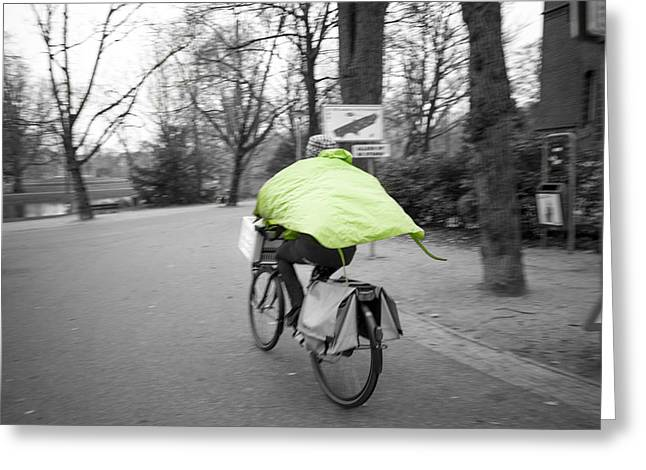 Biking With A Green Raincoat, Holland Greeting Card