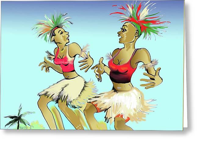 Bikutsi Dance In Cameroon 05 Greeting Card by Emmanuel Baliyanga