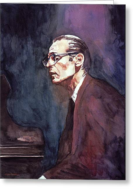 Featured Portraits Greeting Cards - Bill Evans - Blue Symphony Greeting Card by David Lloyd Glover