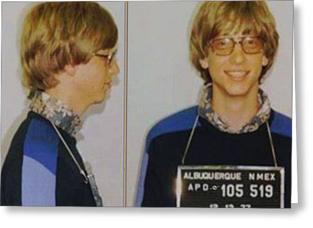 Bill Gates Mug Shot Horizontal Color Greeting Card by Tony Rubino