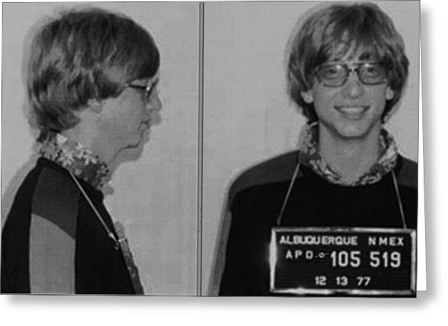 Bill Gates Mug Shot Horizontal Black And White Greeting Card by Tony Rubino