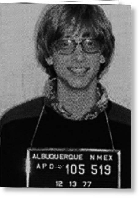 Bill Gates Mug Shot Vertical Black And White Greeting Card by Tony Rubino