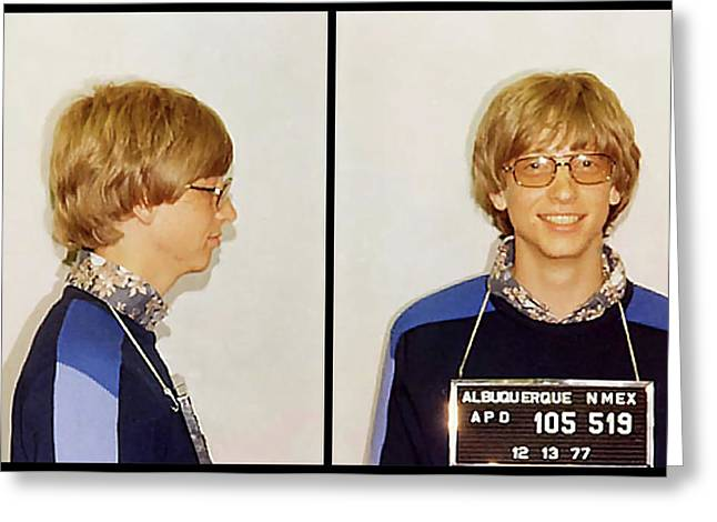Bill Gates Post Impressionist Mugshot Greeting Card by Daniel Hagerman