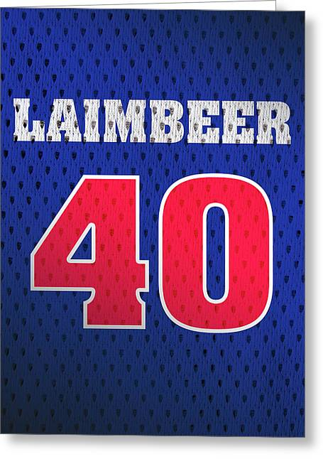 Bill Laimbeer Detroit Pistons Number 40 Retro Vintage Jersey Closeup Graphic Design Greeting Card