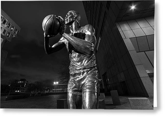 Bill Russell Statue City Hall Plaza Fanueil Hall Boston Ma Greeting Card