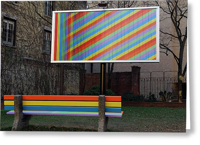Billboard And Bench Art Installation In A City Parkette Greeting Card by Reimar Gaertner