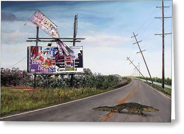 Billboard Thief Greeting Card by Richard Barone