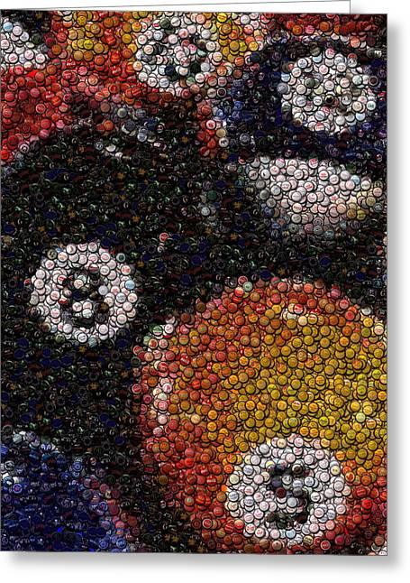 Billiard Ball Bottle Cap Mosaic Greeting Card by Paul Van Scott