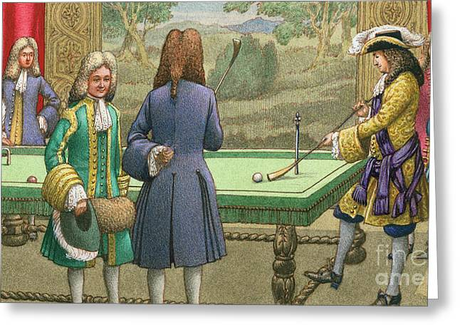 Billiards, As Played By Louis Xiv At Versailles Greeting Card