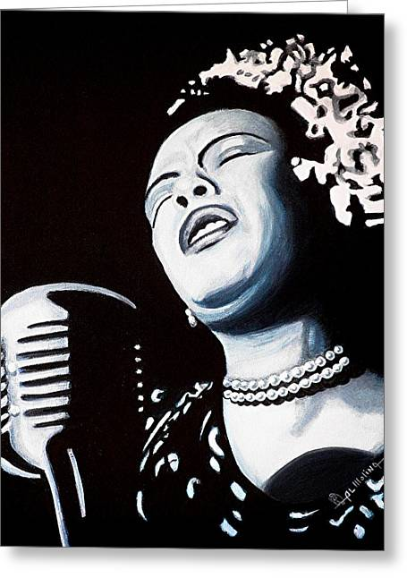 Billie Holiday Greeting Cards - Billie Belts the Blues Greeting Card by Al  Molina