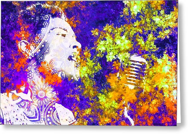 Billie Holiday Greeting Card by Brian Broadway