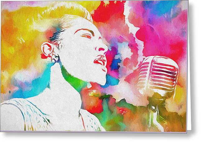 Billie Holiday Color Tribute Greeting Card by Dan Sproul