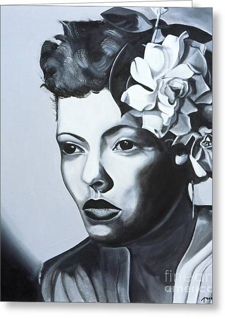 Billie Holiday Greeting Card by Kaaria Mucherera