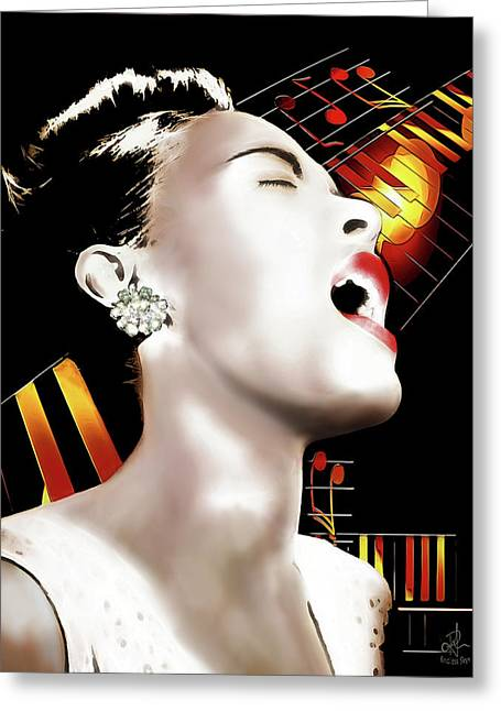 Billie Holiday Greeting Card by Pennie McCracken