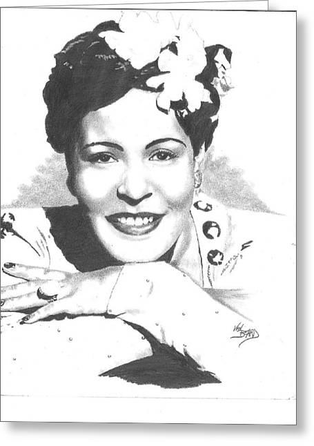 Billie Holiday Greeting Card by Van Beard