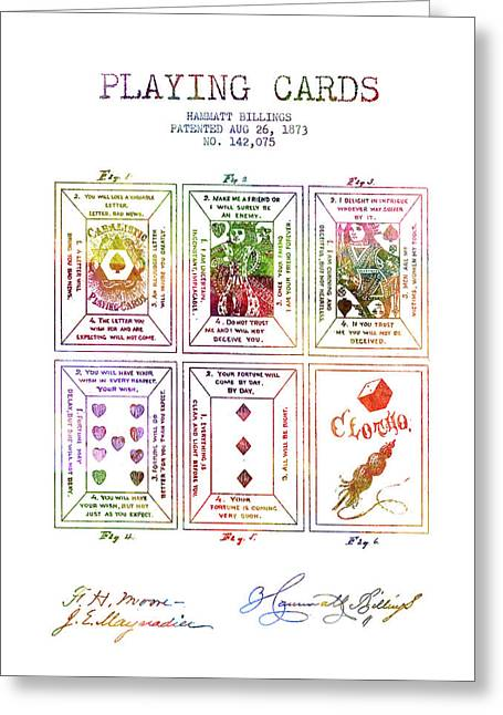 Billings Playing Cards Patent Drawing From 1873 -rainbow Greeting Card by Aged Pixel