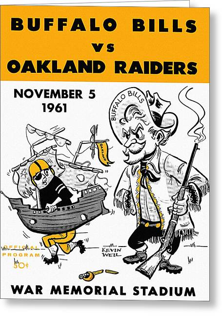 Bills Vs Raiders 1961 Program Greeting Card
