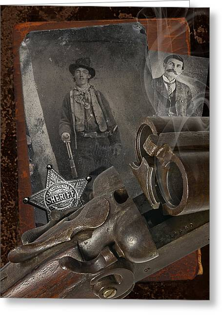 Billy The Kid Greeting Cards - Billy and Pat Greeting Card by Robert Hudnall