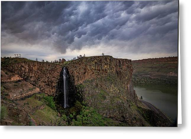 Greeting Card featuring the photograph Billy Chinook Falls by Cat Connor
