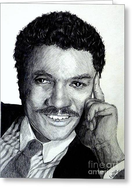 Greeting Card featuring the drawing Billy Dee Williams by Terri Mills