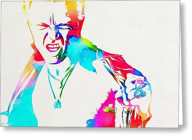 Billy Idol Watercolor Paint Greeting Card by Dan Sproul