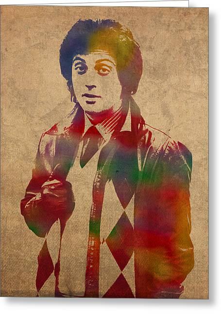 Billy Joel Musician Watercolor Portrait Greeting Card