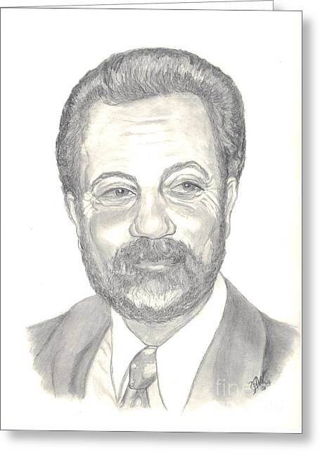 Greeting Card featuring the drawing Billy Joel Portrait by Carol Wisniewski