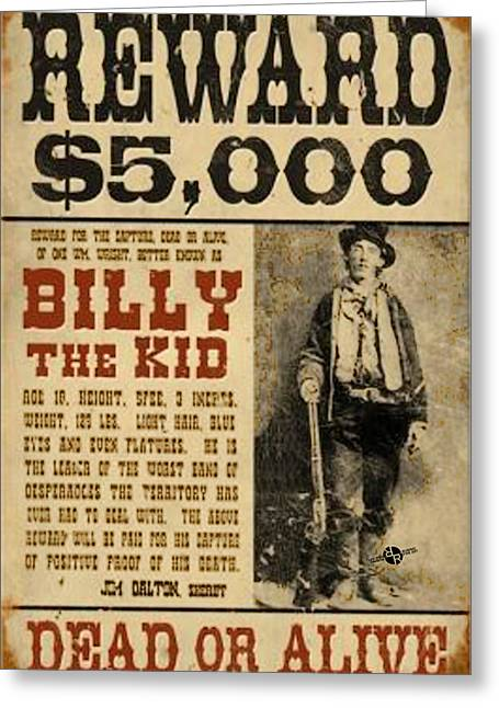 Billy The Kid Mug Shot Wanted Poster Greeting Card by Tony Rubino