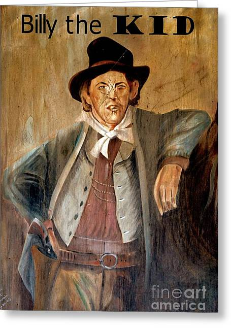 Billy The Kid W Text Greeting Card by Bob Pardue