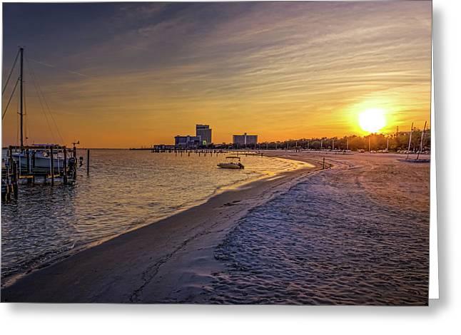 Biloxi Beach Sunset Greeting Card by Barry Jones