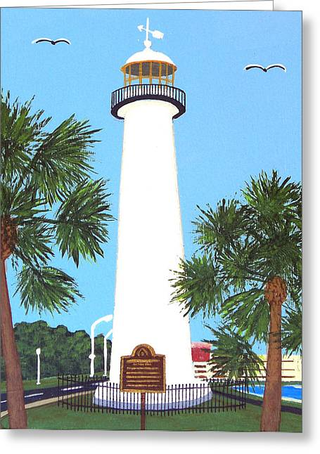Greeting Card featuring the painting Biloxi Lighthouse by Frederic Kohli