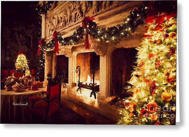 Biltmore House Triple Fireplace Greeting Card by Garland Johnson