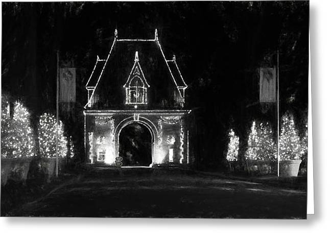 Biltmore Lights Up The Gate House In Black And White Greeting Card by Carol R Montoya