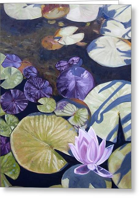 Greeting Card featuring the painting Biltmore Lilypads by Robert Decker