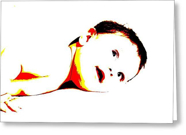 Bimbo Bambino Baby Disteso Su Letto Greeting Card