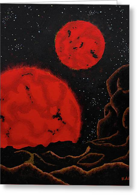 Binary Red Dwarf Stars Greeting Card