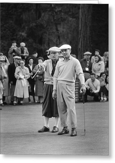 Bing Crosby And Ben Hogan Greeting Card by Underwood Archives