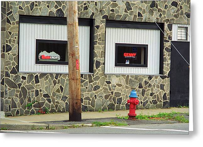 Binghamton New York - Frankie's Tavern Neon Greeting Card by Frank Romeo