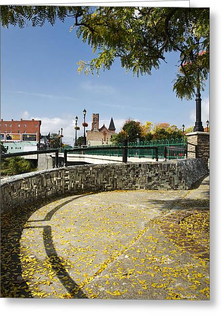 Binghamton Ny Walkway To Court St. Bridge Greeting Card