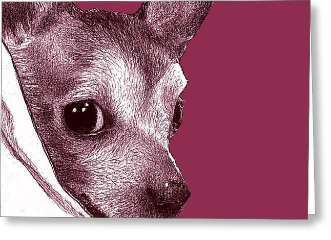 Binky In Magenta Greeting Card by Lorraine Zaloom