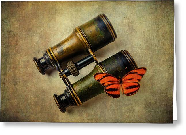 Binoculars And Butterfly Greeting Card by Garry Gay