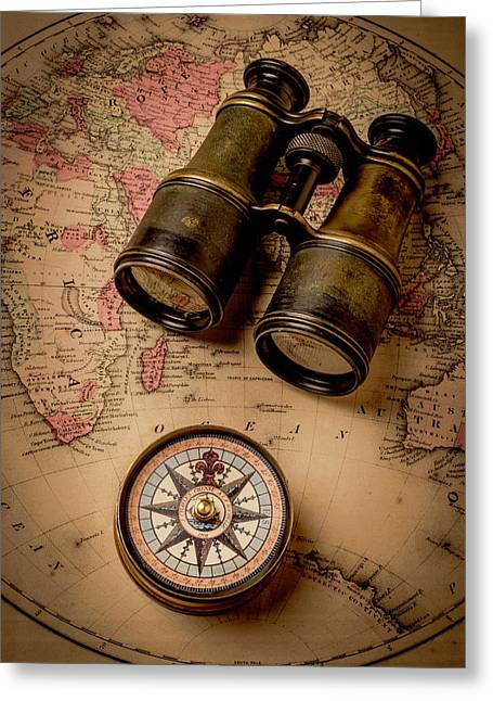 Binoculars And Compass On Map Greeting Card