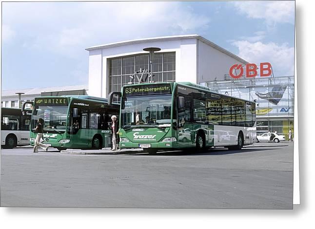Biodiesel Buses, Austria Greeting Card by Martin Bond