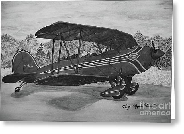 Biplane In Black And White Greeting Card by Megan Cohen